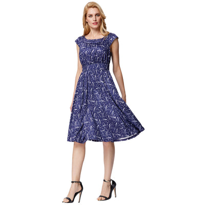Navy Blue Shooting Stars Print Cap Sleeve A-Line Dress