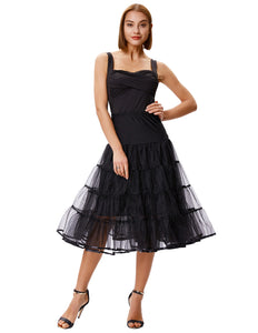 Grace Karin Black Women's 2-Layers Voile Crinoline Pleated Underskirt Petticoat with high quality