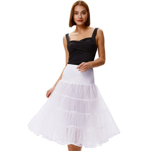 Grace Karin White Women's 2-Layers Voile Crinoline Pleated Underskirt Petticoat with high quality