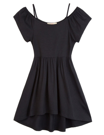 Garce Karin Children & Kids & Girls Black Soft Cotton Spaghetti Straps Cold Shoulder High-Low A-Line Dress