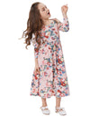 Grace Karin Children&Kids Pink Vibrant Floral Pattern Long Sleeve Crew Neck High Stretchy Long Maxi A-Line Girl's Dress