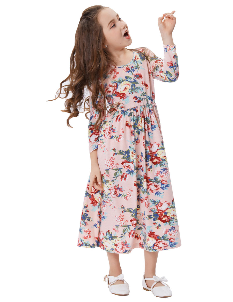 Floral Pattern Long Sleeve Maxi A-Line Long Girl's Dress