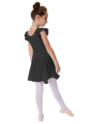 Cap Sleeve Round Neck Cotton Girl's Skirted Leotard for Dance