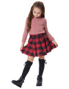 Grace Karin Children Kids High Waisted Elastic Waist Flared Red and Black Grid Pattern A-Line Mini Girl's Skirt