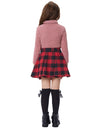Children Kids Elastic Waist Flared Grid Pattern A-Line Mini Girl's Skirt