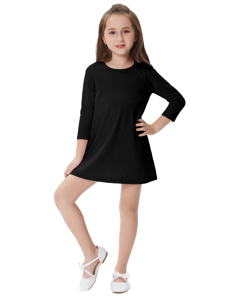 Grace Karin Chrildren Long Sleeve Crew Neck A-Line Soft Cotton Girl's Dress_Navy Blue