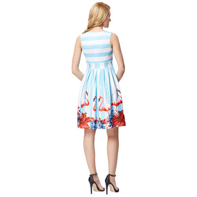 Grace Karin Women's Retro Vintage Style Sleeveless Crew Neck Light Blue and White Stripe Pattern Pleated A-Line Party Picnic Dress