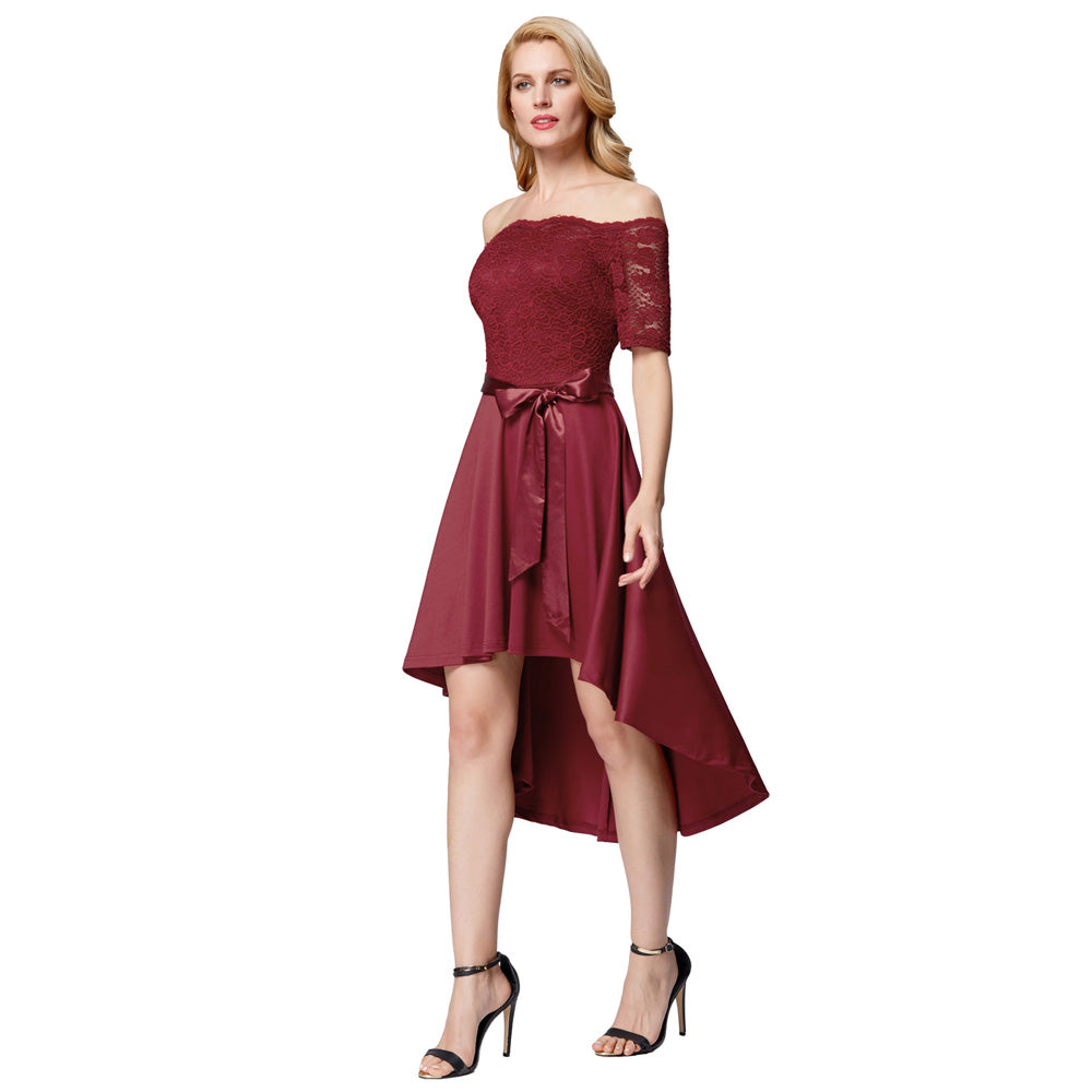 GRACE KARIN 1/2 Sleeve Off the Shoulder High-Low Cocktail Party Dress