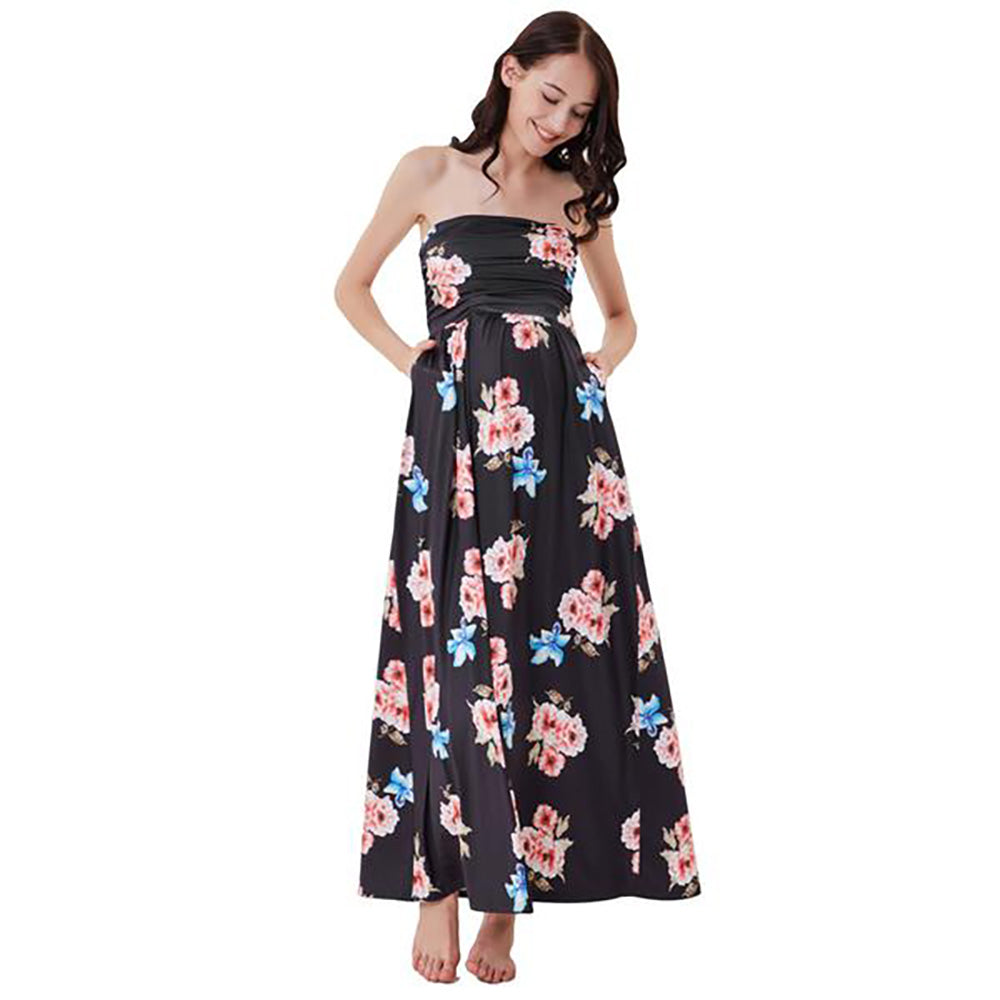 Floral Pattern Strapless High Stretchy Maternity Women's Dress