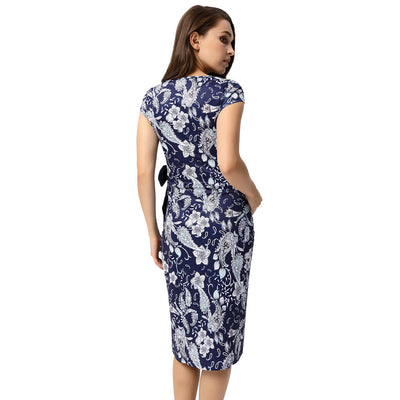 Women Maternity Floral Pattern Pencil Dress