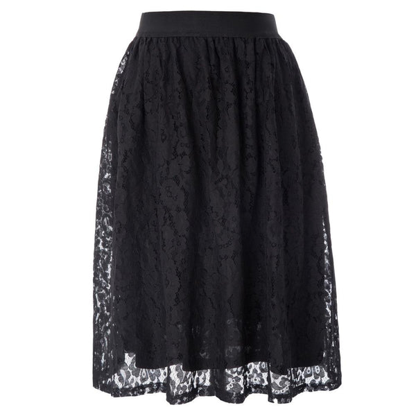GK Women's Retro Vintage Flared A-Line Lace Skirt
