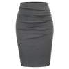 Women's Vintage Solid Color Ruched Front Hips-wrapped Bodycon Pencil Skirt