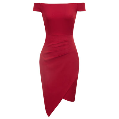 Sexy Women's Off Shoulder Faux Wrap Irregular Hem Hips-wrapped Pencil Dress
