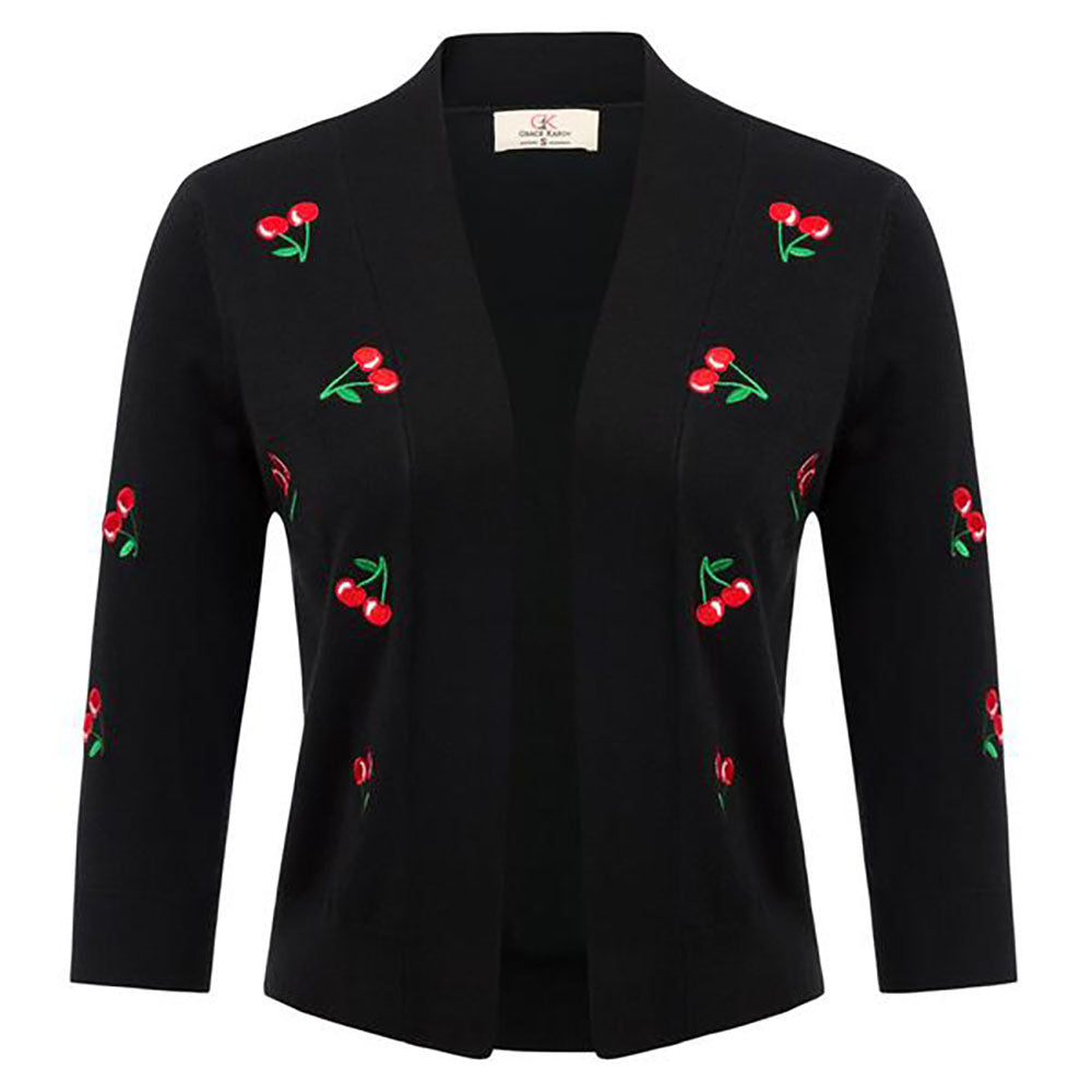 Women Cherries Embroidery 3/4 Sleeve Open Front Cropped Length Knitting Coat