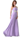 Stock One Shoulder Chiffon Ball Gown Evening Prom Party Dress