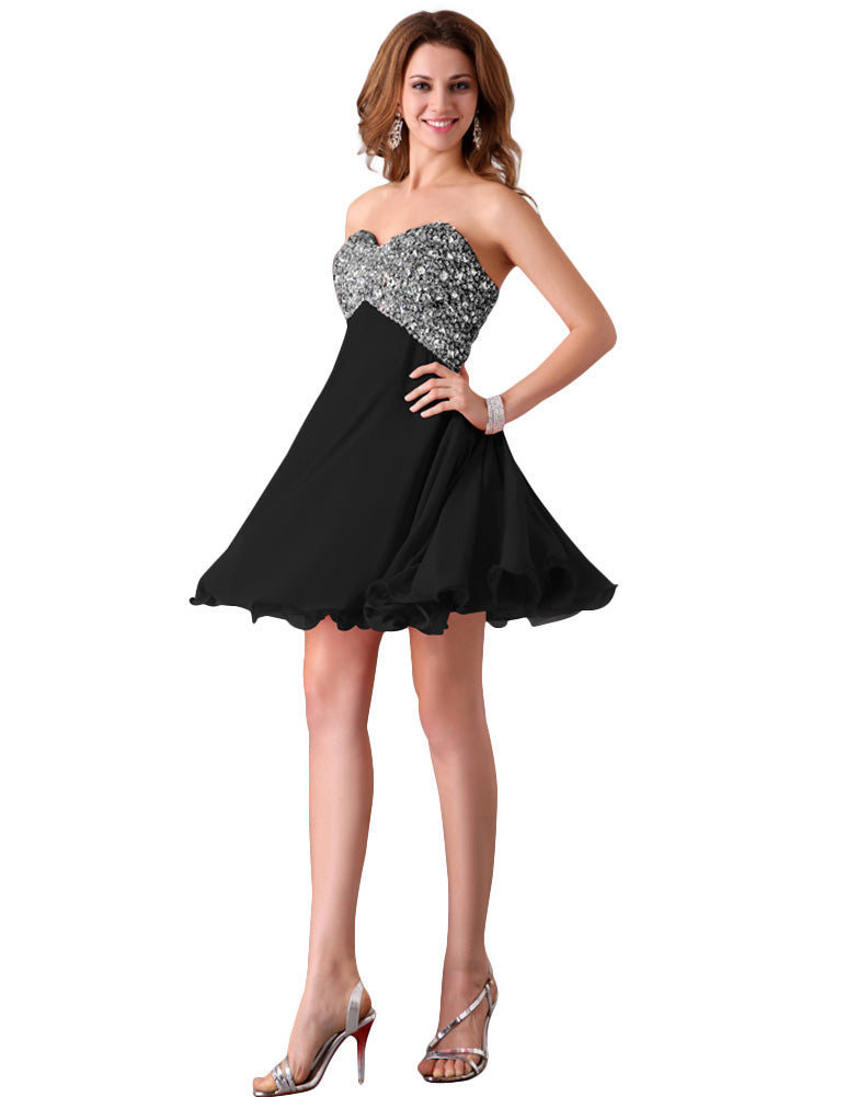 Grace Karin Sequin Embellished Sweetheart Neck Short Wedding Party Homecoming Dress_Black