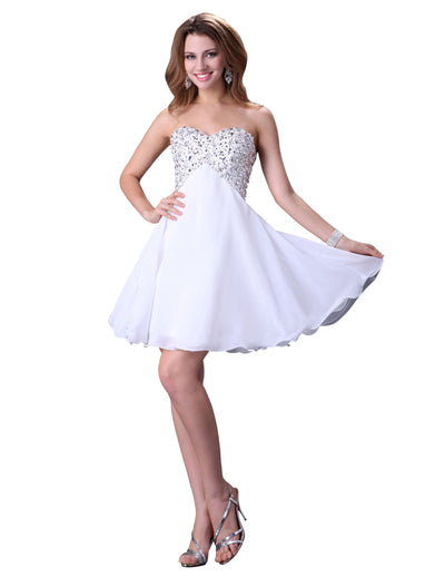 Grace Karin Sequin Embellished Sweetheart Neck Short Wedding Party Homecoming Dress_White