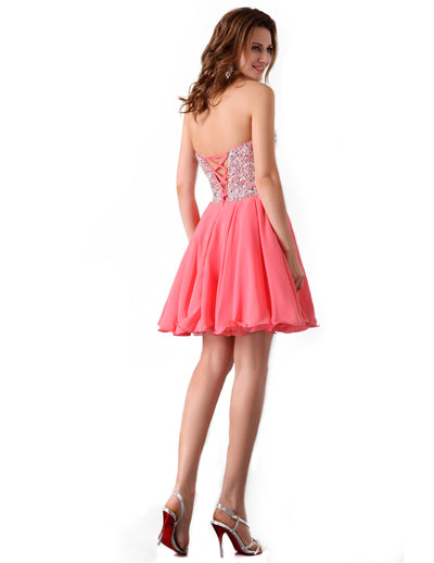 Short Sequins Embellished Sweetheart Wedding Homecoming Chiffon Dress