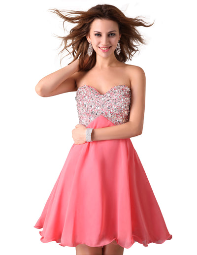 Grace Karin Sequin Embellished Sweetheart Neck Short Wedding Party Homecoming Dress_Pink