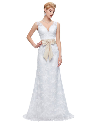 Grace Karin Sleeveless V-Neck Lace Mermaid Wedding Party Evening Dress_White
