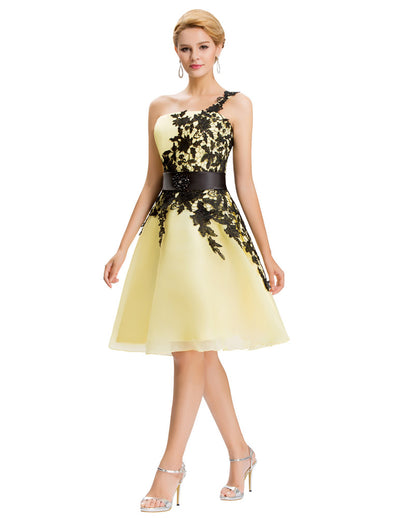 Grace Karin Women's High Quality Organza One Shoulder Lace-Up Back Lace Bridesmaid Dress_Yellow