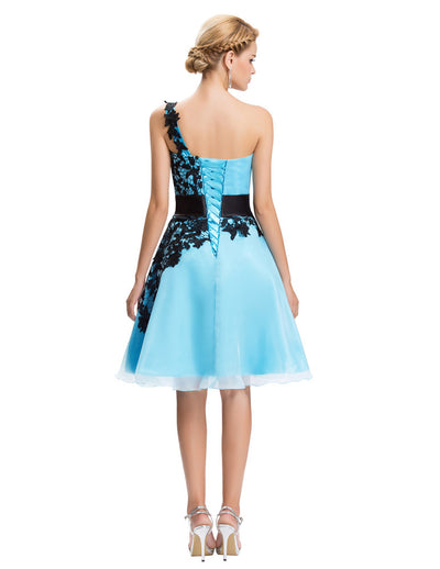 Grace Karin Women's High Quality Organza One Shoulder Lace-Up Back Lace Bridesmaid Dress_Blue