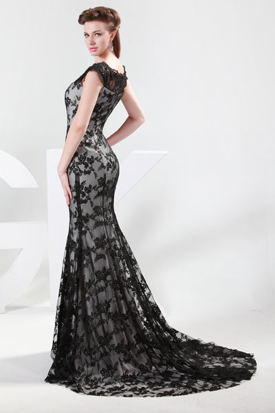 Black Cap Sleeve Floor-Length Lace Formal Mermaid Brides Evening Dress