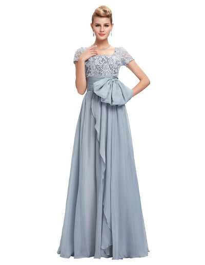 Classic Grey Chiffon Short Sleeve V-Back Lace Bridal Dress