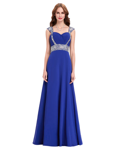 Stock Sequins Beaded Ball Gown Evening Prom Party Dress