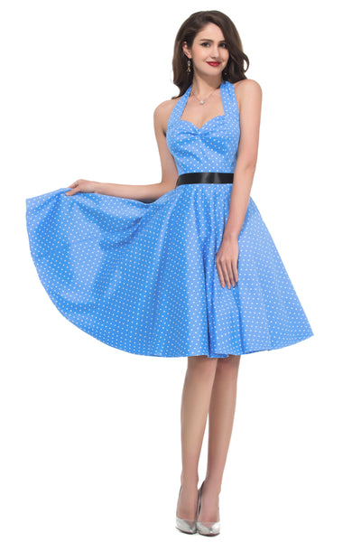 Grace Karin Women's 1950's Sleeveless Knee Length Pin up Retro Style Cotton Swing Dress _Blue