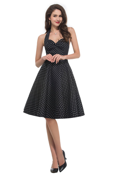 Grace Karin Women's 1950's Sleeveless Knee Length Pin up Retro Style Cotton Swing Dress _Black