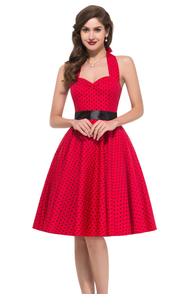 Grace Karin Women's 1950's Sleeveless Knee Length Pin up Retro Style Cotton Swing Dress _Red