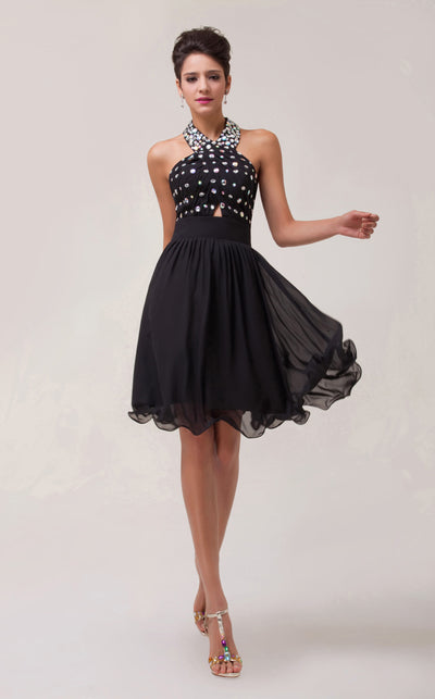 Stock Halter Chiffon Ball Cocktail Evening Prom Party Dress