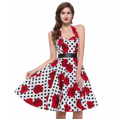 Grace Karin 1950s Retro Vintage Cotton Backless Women's Sweetheart Neckline Knee-Length Halter Floral Pattern Swing Dress