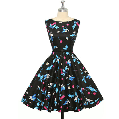 Floral Sleeveless Boatneck Swing Dress With Belt