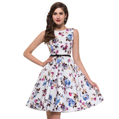 1950s Vintage Retro Floral Printed Cotton Summer Dress with Belt