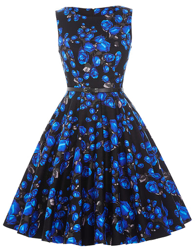 Floral Sleeveless Swing A Line Dress With Belt