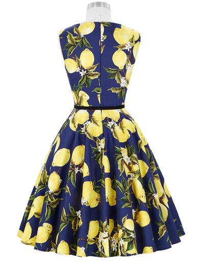 Grace Karin Lemon Patterns Dress Sleeveless Boat-Neck Cotton Vintage Dress