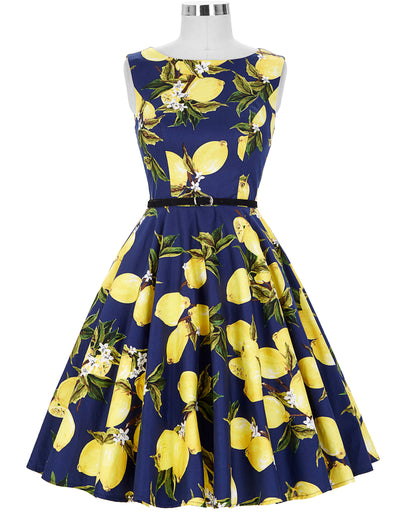 Grace Karin 1950's Women's White or Navy Blue Simple Lemon Patterns Sleeveless Boat-Neck Cotton Spandex Vintage Dress with Belt