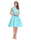 GRACE KARIN Women's Solid Power Blue Vintage Retro Cap Sleeve V-Neck Lapel Collar Knee-Length Party Picnic Dress with Belt