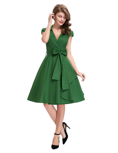 GRACE KARIN Women's Solid Green Vintage Retro Cap Sleeve V-Neck Lapel Collar Knee-Length Party Picnic Dress with Belt