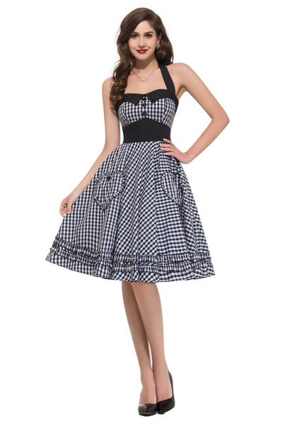 GRACE KARIN Retro Vintage Style Halter Grid Pattern Cotton Knee-Length Party Picnic Dress with Two Pockets-Black