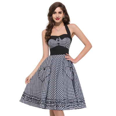 Halter Grid Pattern Cotton Party Picnic Dress with Two Pockets