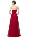 Strapless Sweetheart  Lace-Up Back Floor-Length Chiffon Evening Dress