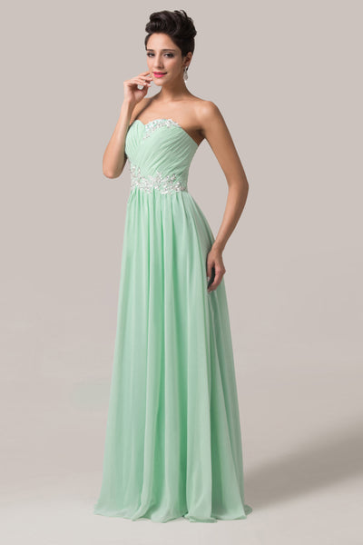 Strapless Chiffon Ball Gown Evening Prom Party Dress 8 Size