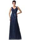 Navy Blue Sleeveless Double V Lace A-Line Princess Wedding Dress