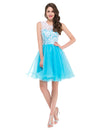 Grace Karin Top de encaje A-Line Princess Bridesmaid Short Mini Fiesta de fiesta de noche de regreso a casa_Blue