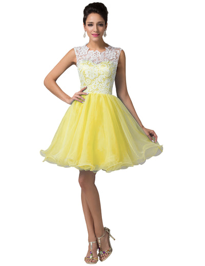 Grace Karin Lace Top A-Line Princesa Dama de honor Corto Mini Fiesta Fiesta de noche Regreso a casa_Amarillo