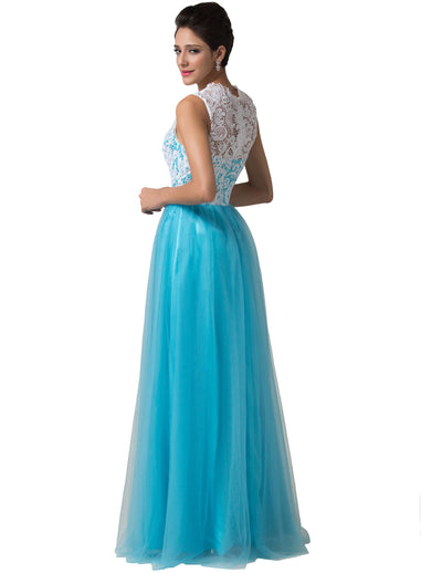 Sky Blue Soft Tulle Lace Crochet Sleeveless Bridesmaid Evening Dress