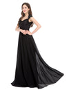 Black Cap Sleeve Princess Lace Top Celebrity Evening Dress